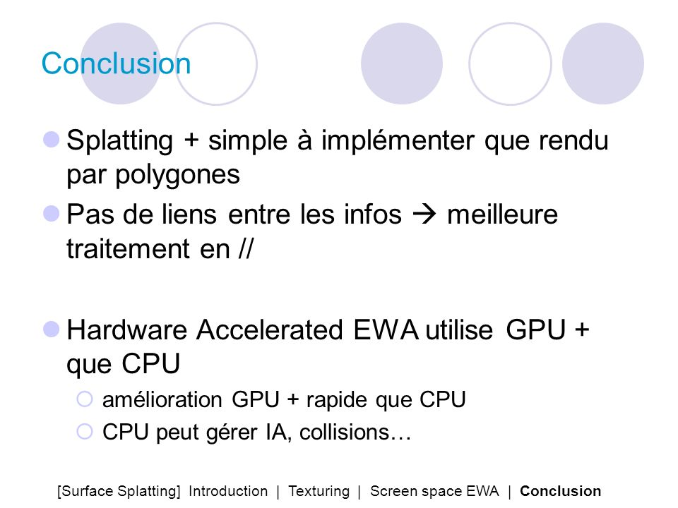Conclusion Splatting + simple à implémenter que rendu par polygones