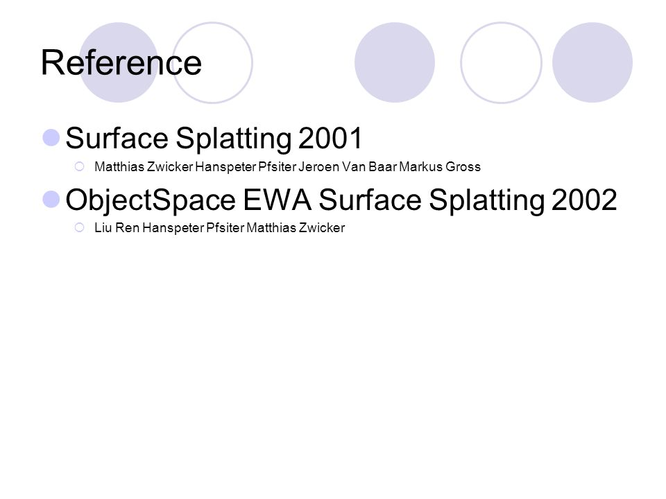 Reference Surface Splatting 2001