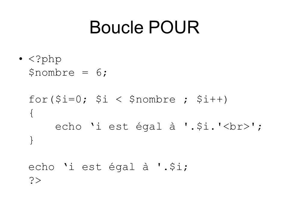 Boucle POUR < php $nombre = 6; for($i=0; $i < $nombre ; $i++) { echo 'i est égal à .$i. <br> ; } echo 'i est égal à .$i; >