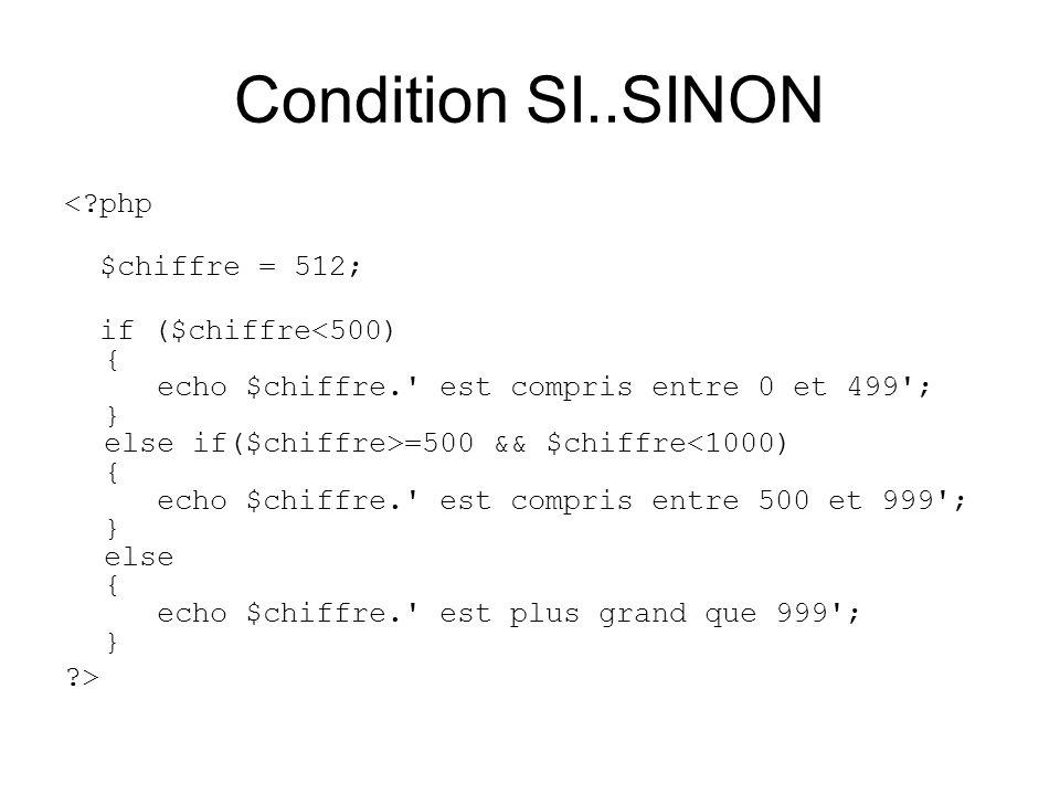 Condition SI..SINON < php $chiffre = 512;