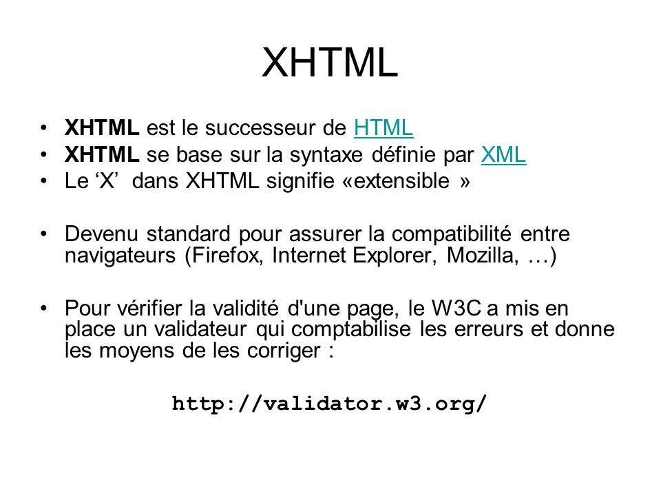 XHTML XHTML est le successeur de HTML