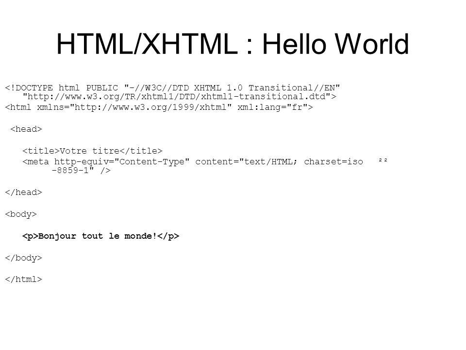 HTML/XHTML : Hello World