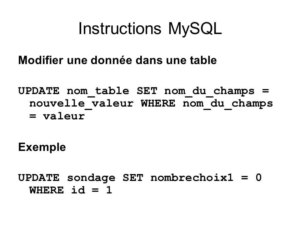 Instructions MySQL Modifier une donnée dans une table