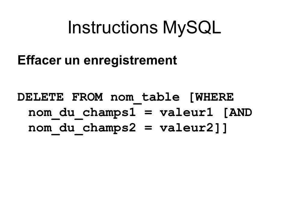 Instructions MySQL Effacer un enregistrement