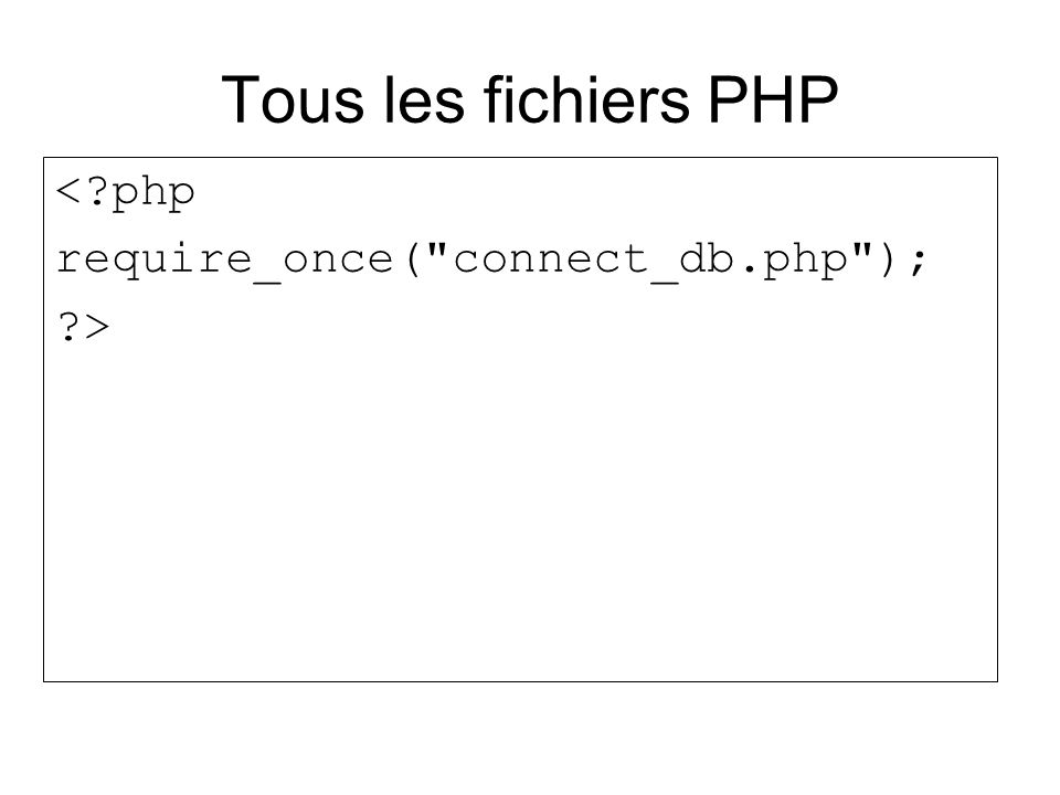 Tous les fichiers PHP < php require_once( connect_db.php ); >