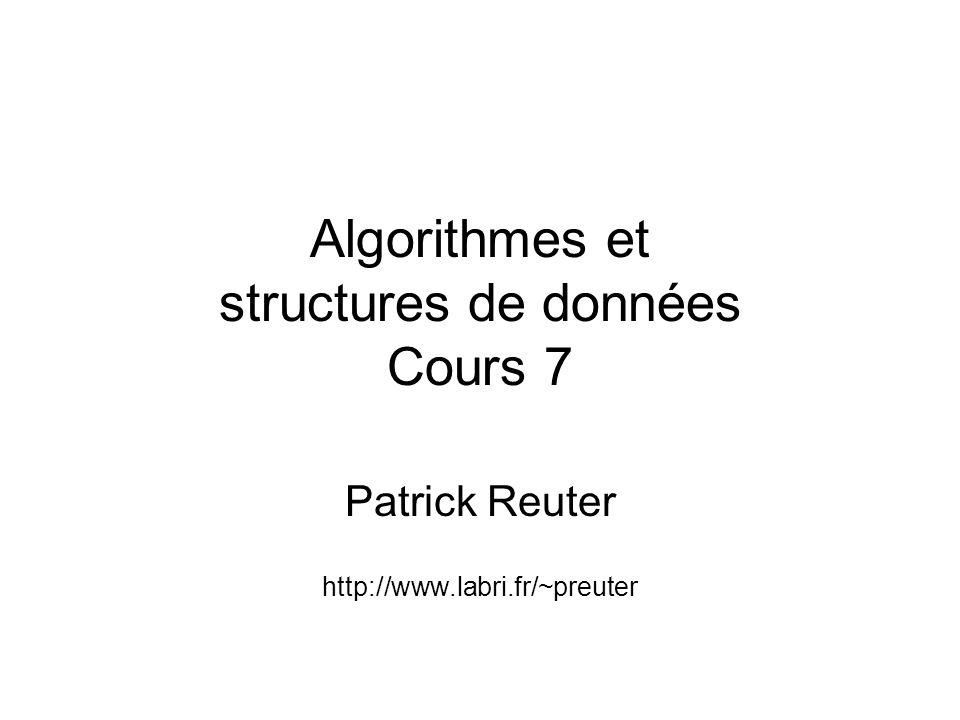 Algorithmes et structures de données Cours 7