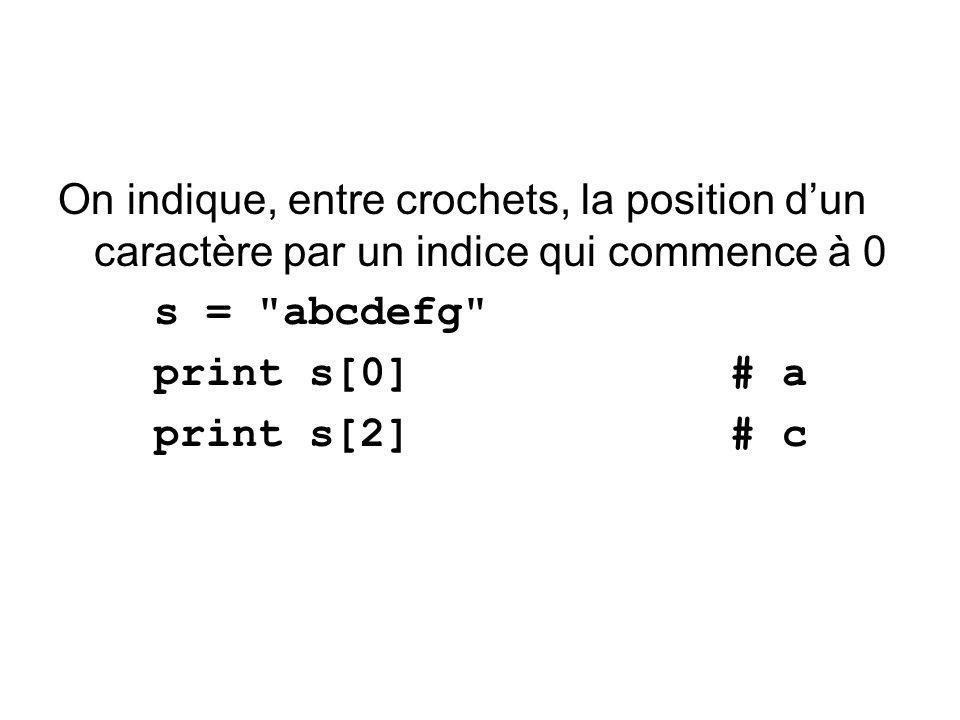 On indique, entre crochets, la position d'un caractère par un indice qui commence à 0
