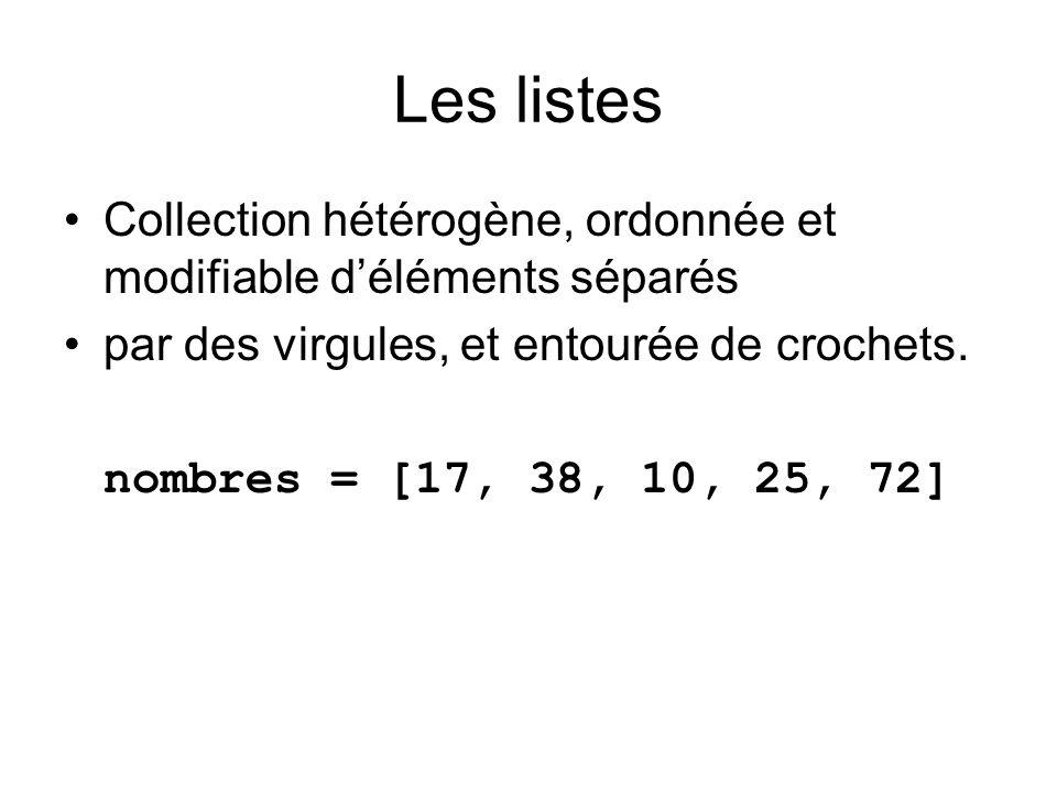 Les listes Collection hétérogène, ordonnée et modifiable d'éléments séparés. par des virgules, et entourée de crochets.
