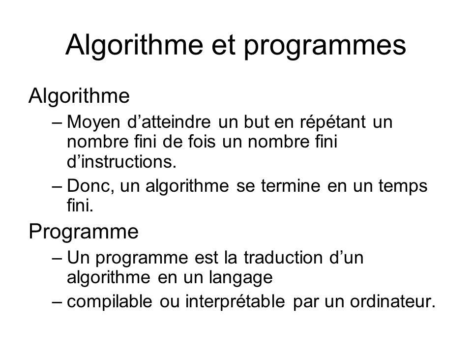 Algorithme et programmes