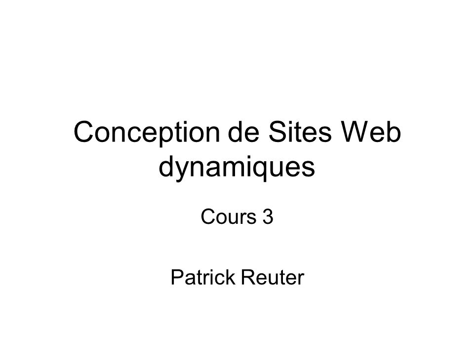 Conception de Sites Web dynamiques