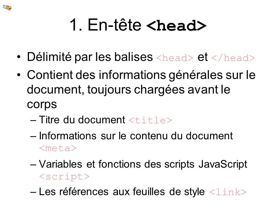 1. En-tête <head> Délimité par les balises <head> et </head> Contient des informations générales sur le document, toujours chargées avant le corps.