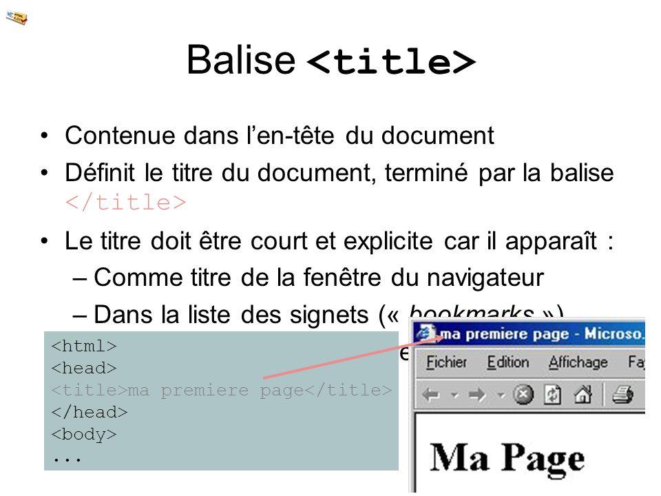 Balise <title> Contenue dans l'en-tête du document