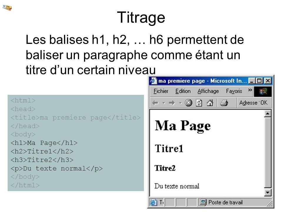 TitrageLes balises h1, h2, … h6 permettent de baliser un paragraphe comme étant un titre d'un certain niveau.