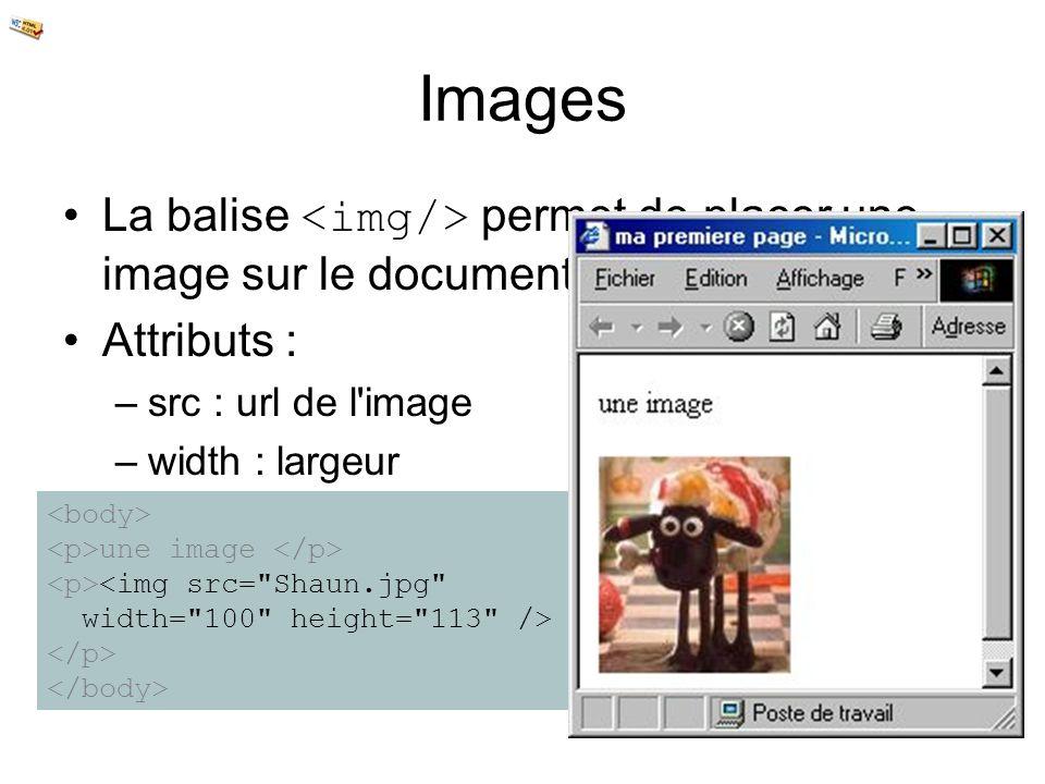 Images La balise <img/> permet de placer une image sur le document. Attributs : src : url de l image.