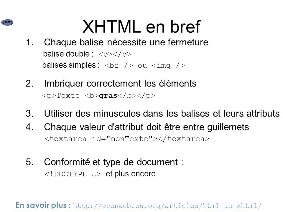 XHTML en bref 1. Chaque balise nécessite une fermeture