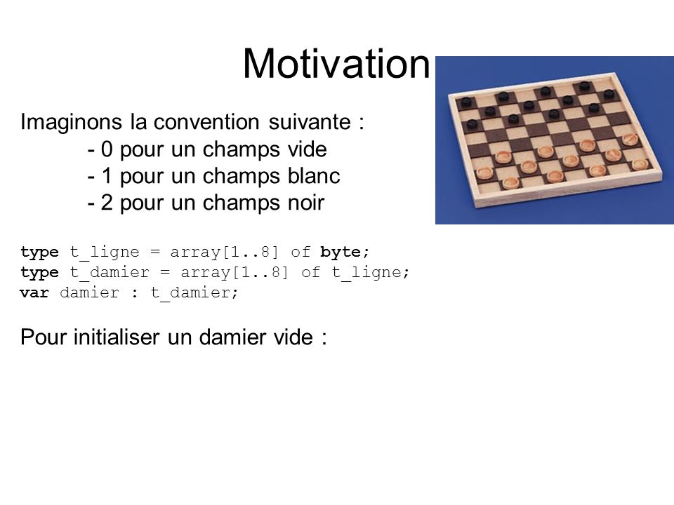 Motivation Imaginons la convention suivante : - 0 pour un champs vide