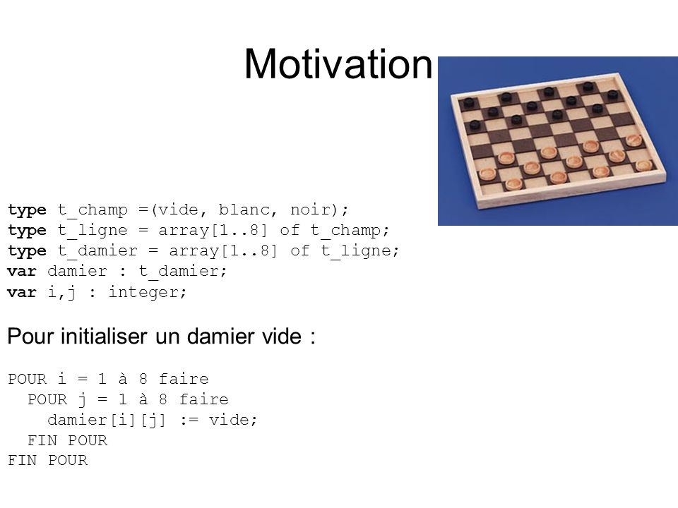 Motivation Pour initialiser un damier vide :