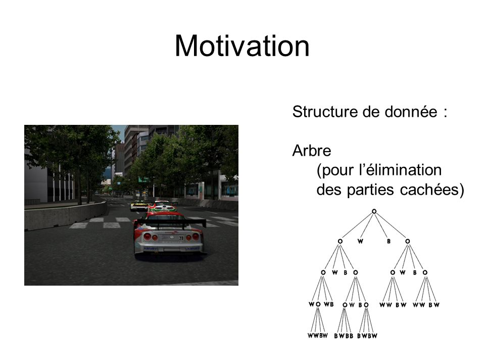 Motivation Structure de donnée : Arbre (pour l'élimination