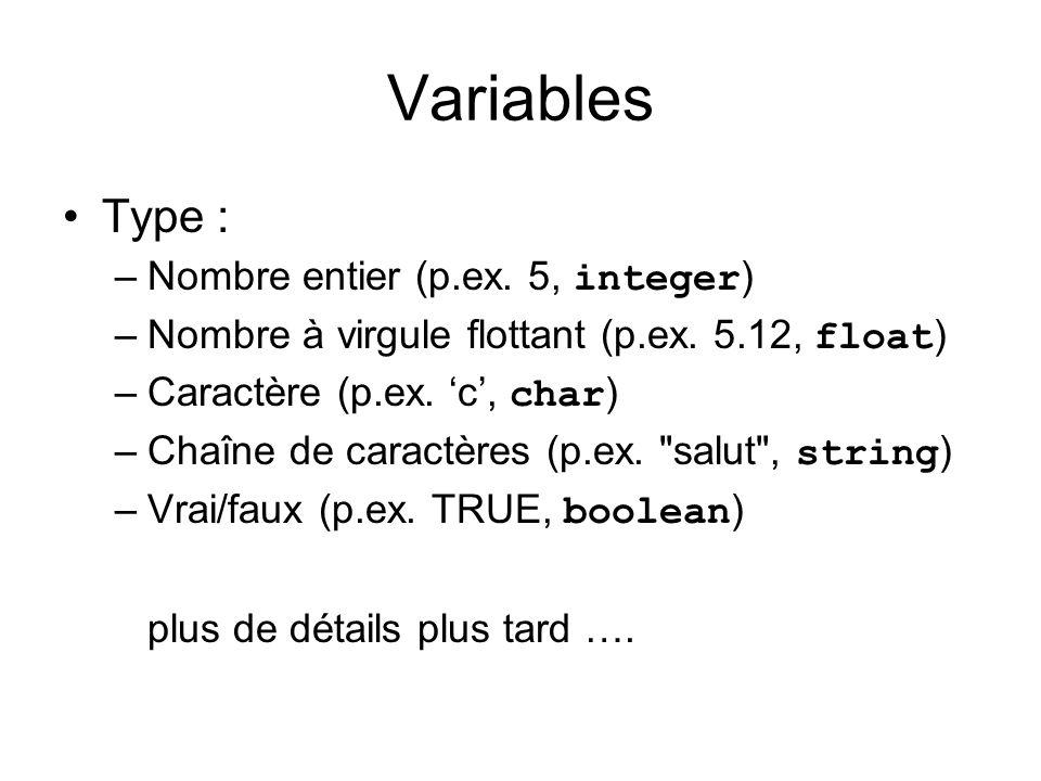 Variables Type : Nombre entier (p.ex. 5, integer)