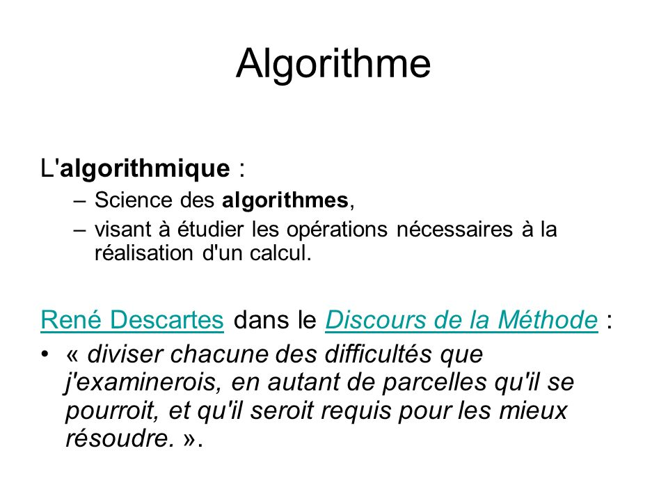 Algorithme L algorithmique :