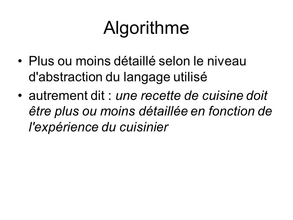 AlgorithmePlus ou moins détaillé selon le niveau d abstraction du langage utilisé