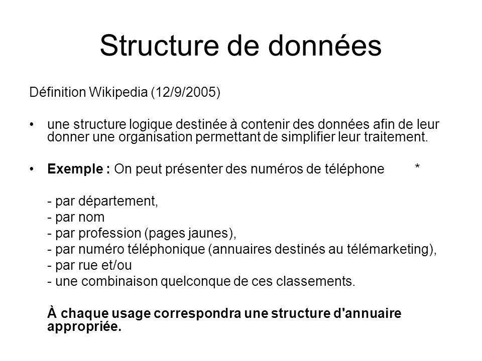 Structure de données Définition Wikipedia (12/9/2005)