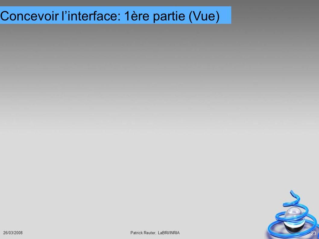 Concevoir l'interface: 1ère partie (Vue)