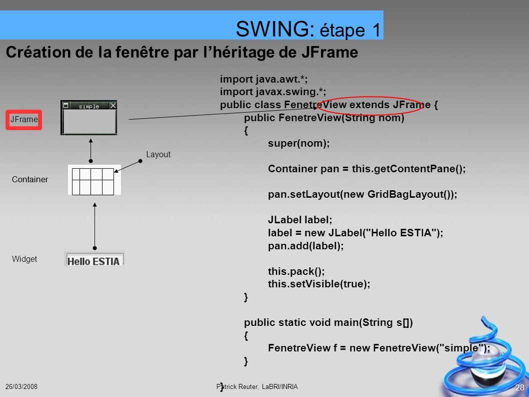 SWING: étape 1 Création de la fenêtre par l'héritage de JFrame