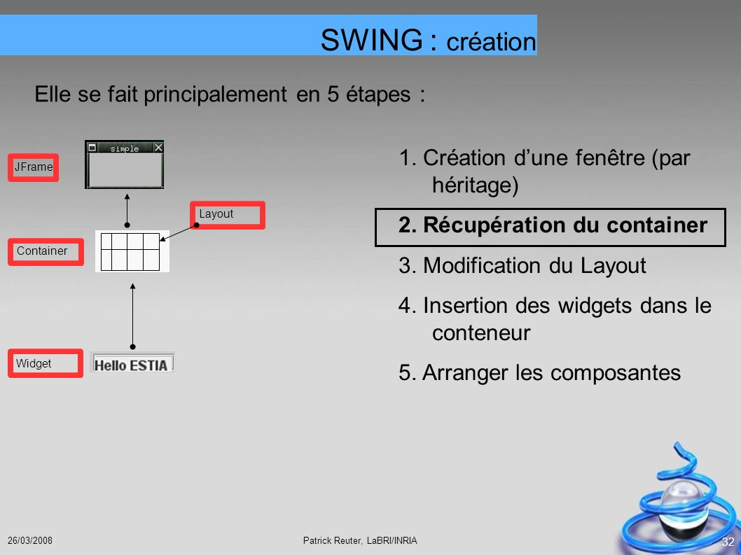 SWING : création Elle se fait principalement en 5 étapes :