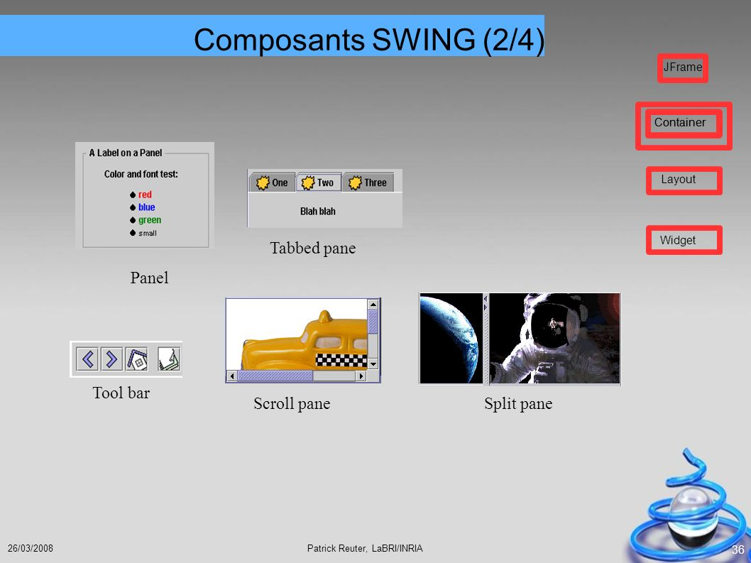 Composants SWING (2/4) Panel Tabbed pane Split pane Scroll pane