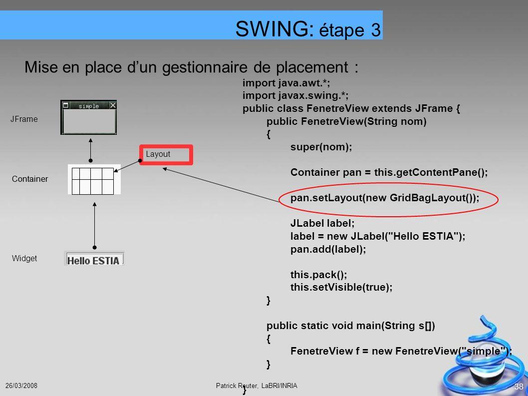 SWING: étape 3 Mise en place d'un gestionnaire de placement :