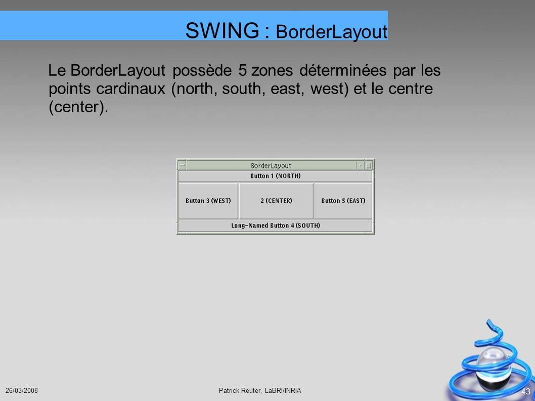 SWING : BorderLayout Le BorderLayout possède 5 zones déterminées par les points cardinaux (north, south, east, west) et le centre (center).