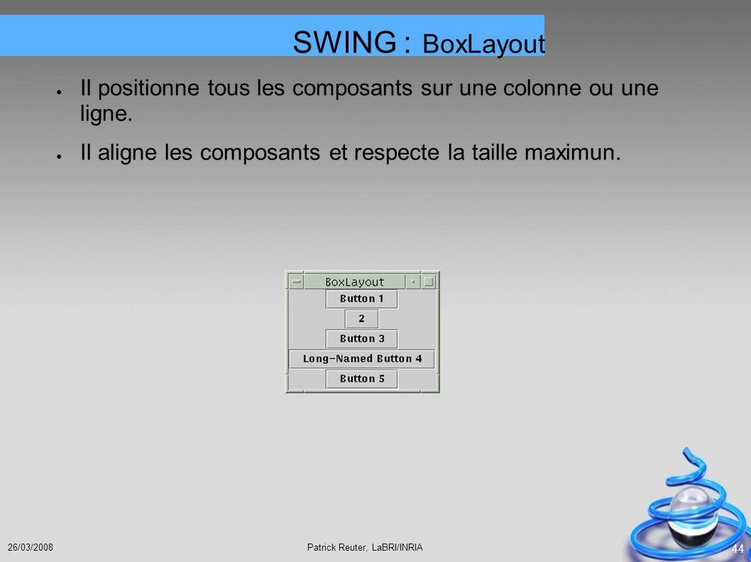 SWING : BoxLayout Il positionne tous les composants sur une colonne ou une ligne.
