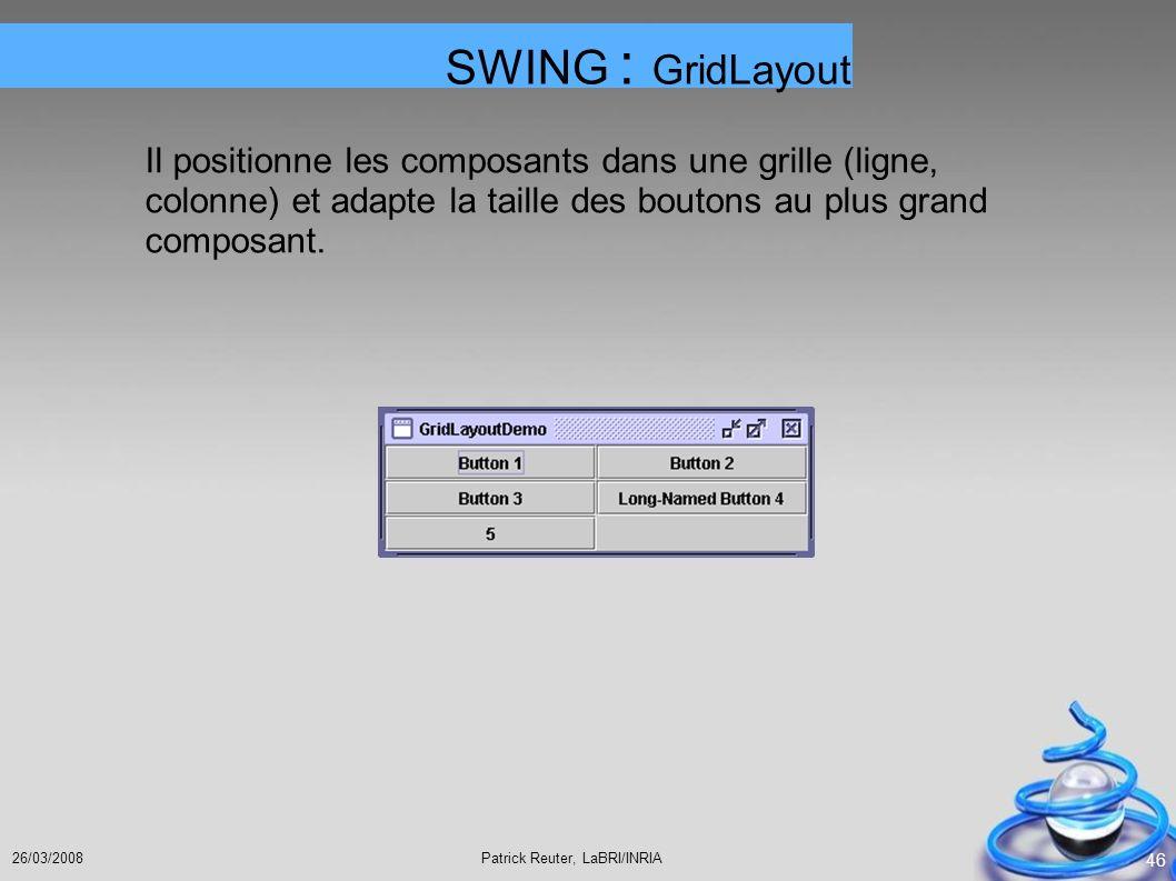 SWING : GridLayout Il positionne les composants dans une grille (ligne, colonne) et adapte la taille des boutons au plus grand composant.
