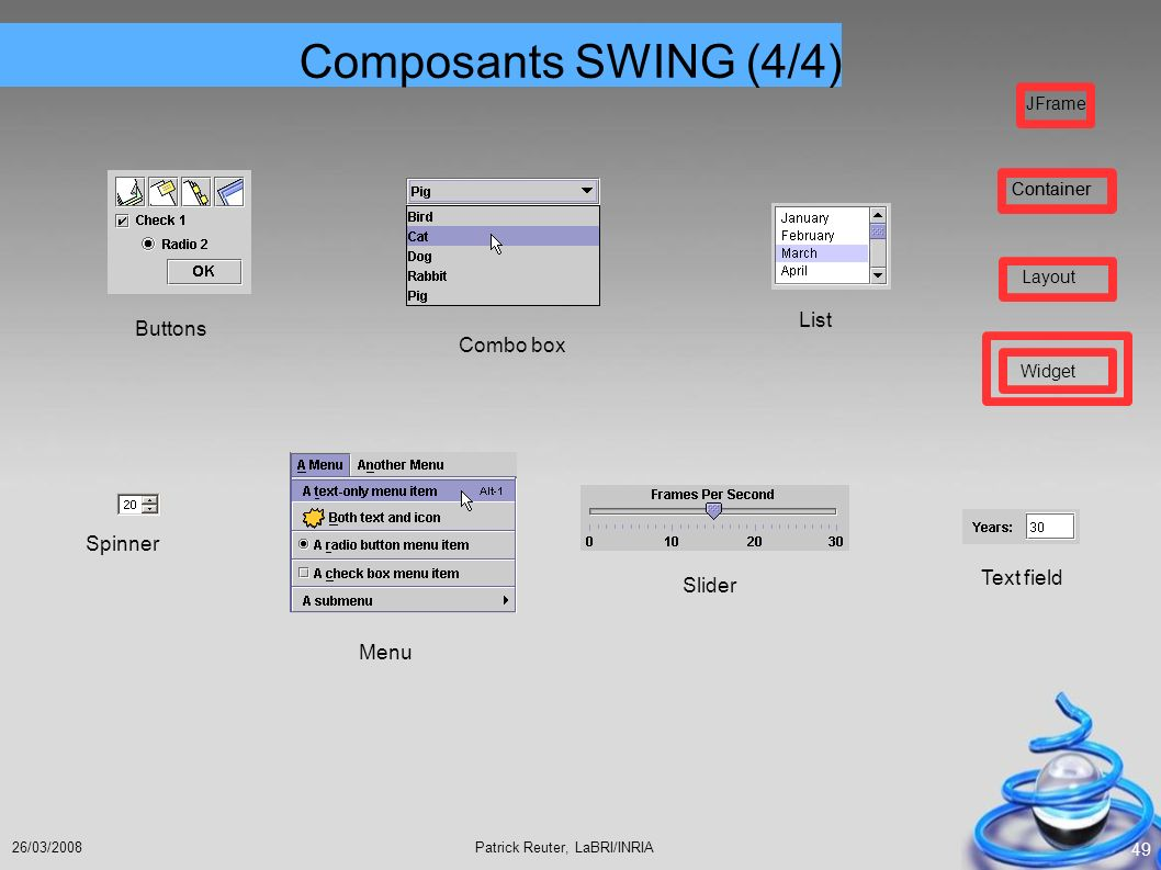 Composants SWING (4/4) List Buttons Combo box Spinner Text field