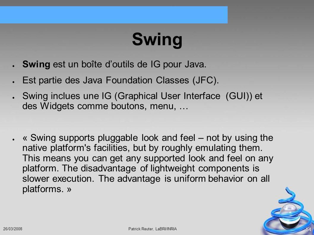 Swing Swing est un boîte d'outils de IG pour Java.