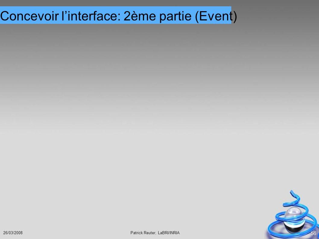 Concevoir l'interface: 2ème partie (Event)
