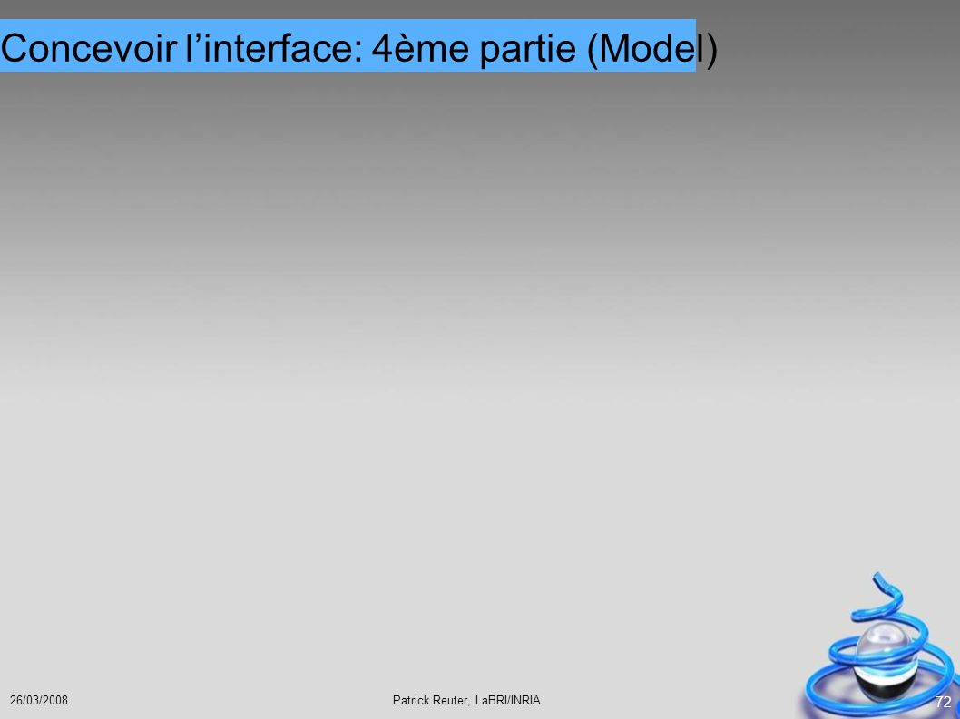 Concevoir l'interface: 4ème partie (Model)