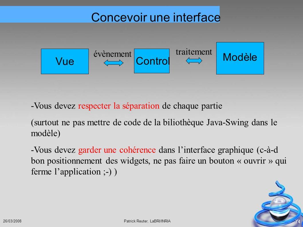 Concevoir une interface