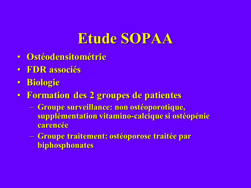 Etude SOPAA Ostéodensitométrie FDR associés Biologie