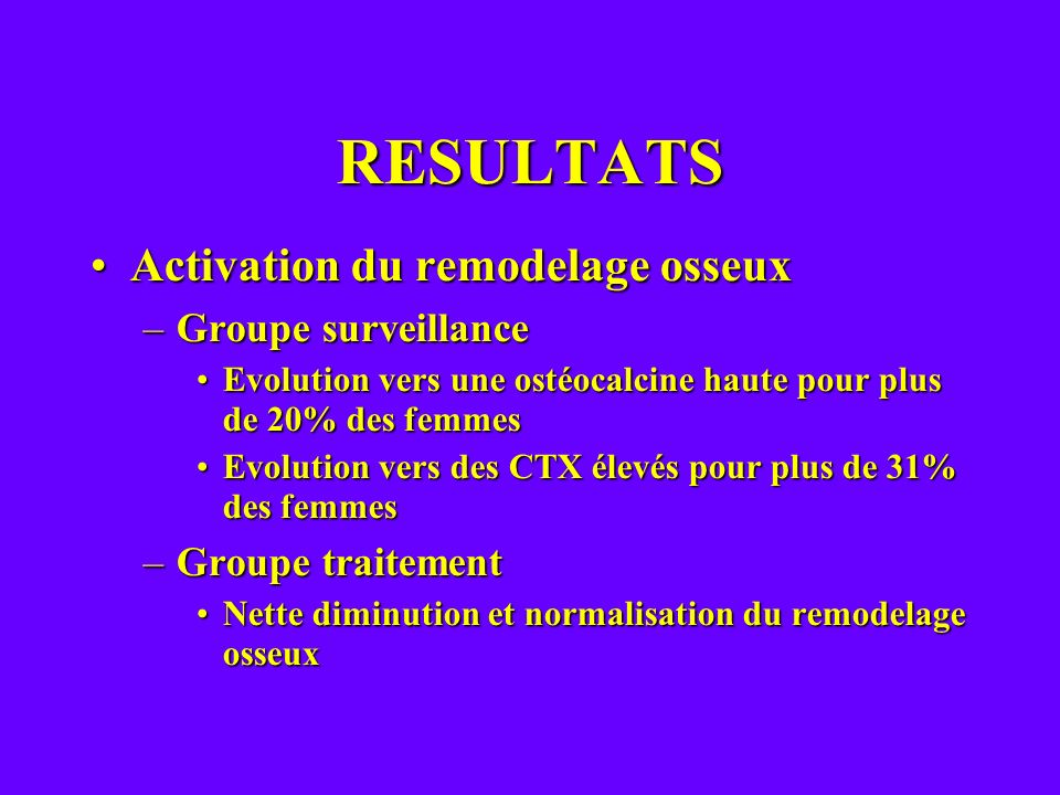RESULTATS Activation du remodelage osseux Groupe surveillance