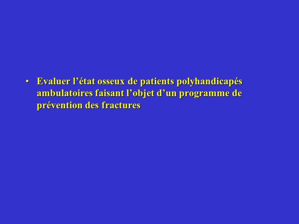 Evaluer l'état osseux de patients polyhandicapés ambulatoires faisant l'objet d'un programme de prévention des fractures