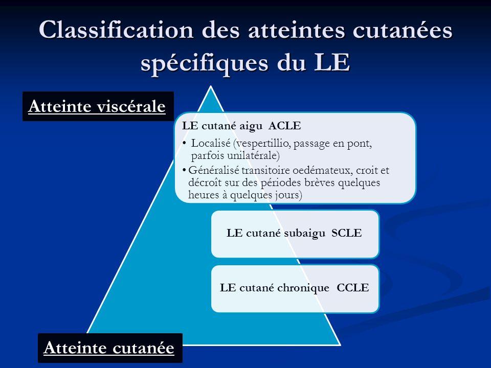 Classification des atteintes cutanées spécifiques du LE