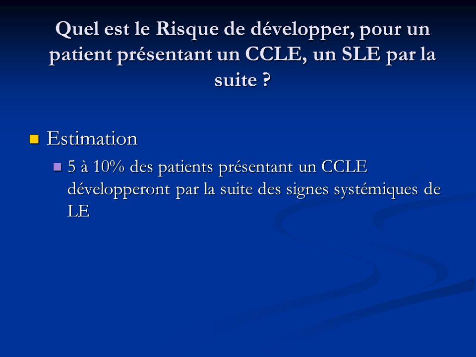 Quel est le Risque de développer, pour un patient présentant un CCLE, un SLE par la suite