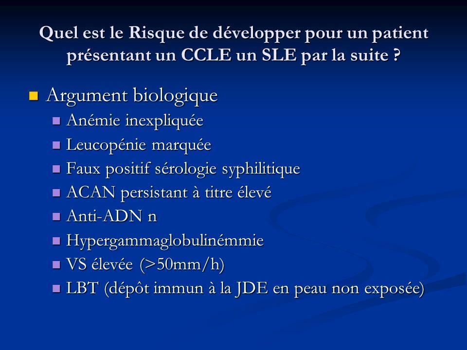 Quel est le Risque de développer pour un patient présentant un CCLE un SLE par la suite