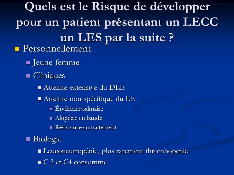 Quels est le Risque de développer pour un patient présentant un LECC un LES par la suite
