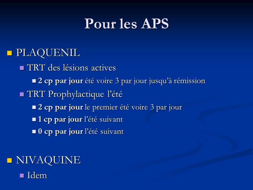 Pour les APS PLAQUENIL NIVAQUINE TRT des lésions actives