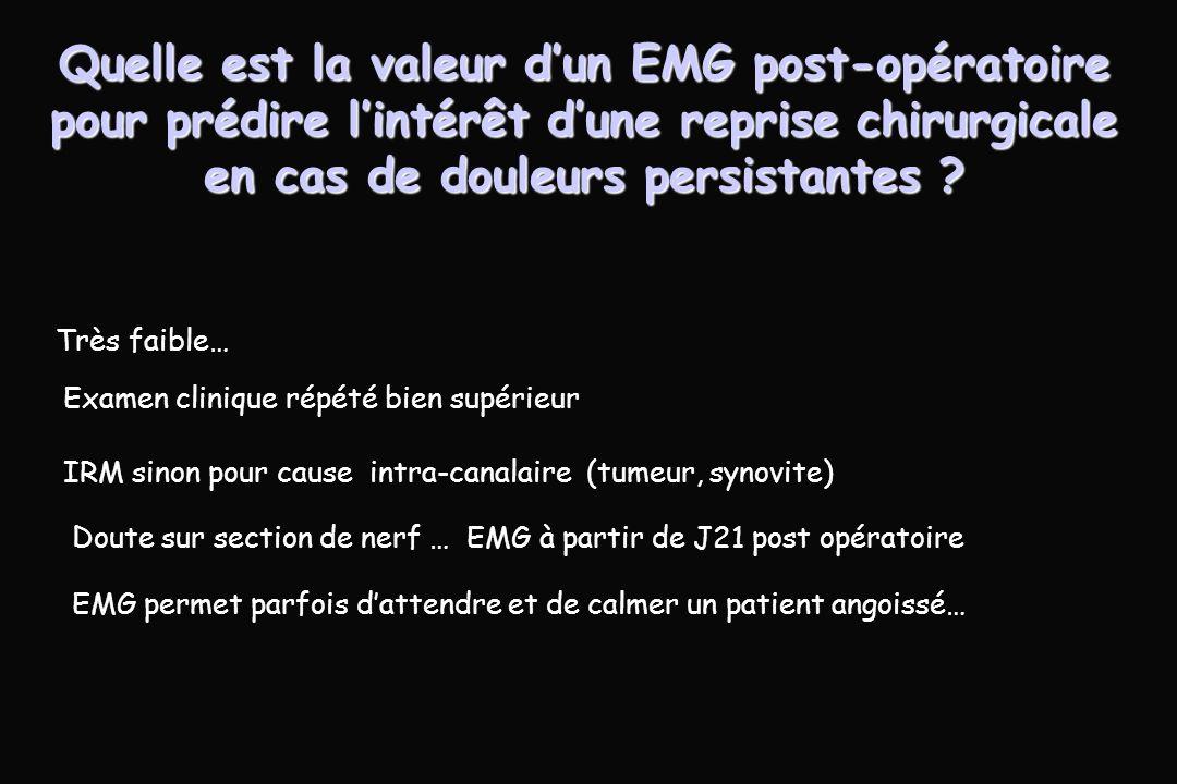 Quelle est la valeur d'un EMG post-opératoire pour prédire l'intérêt d'une reprise chirurgicale en cas de douleurs persistantes