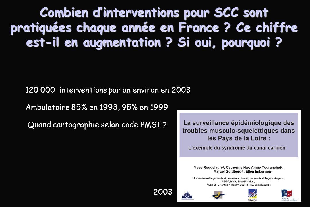 Combien d'interventions pour SCC sont pratiquées chaque année en France Ce chiffre est-il en augmentation Si oui, pourquoi
