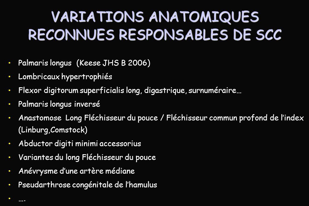 VARIATIONS ANATOMIQUES RECONNUES RESPONSABLES DE SCC